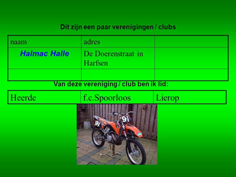 naamadres Halmac Halle De Doerenstraat in Harfsen Dit zijn een paar verenigingen / clubs Van deze vereniging / club ben ik lid: Heerdef.c.SpoorloosLie