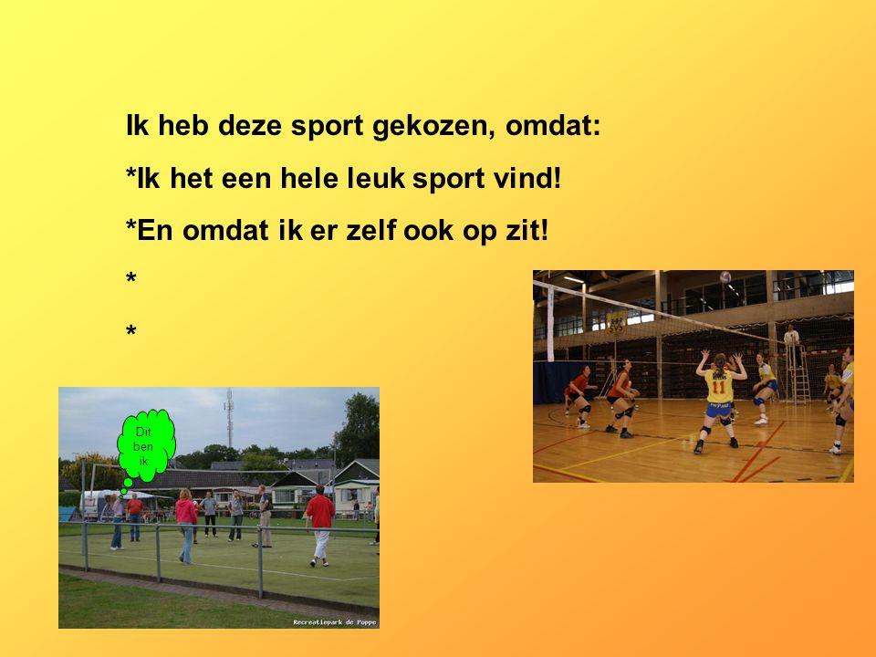 Ik heb deze sport gekozen, omdat: *Ik het een hele leuk sport vind.