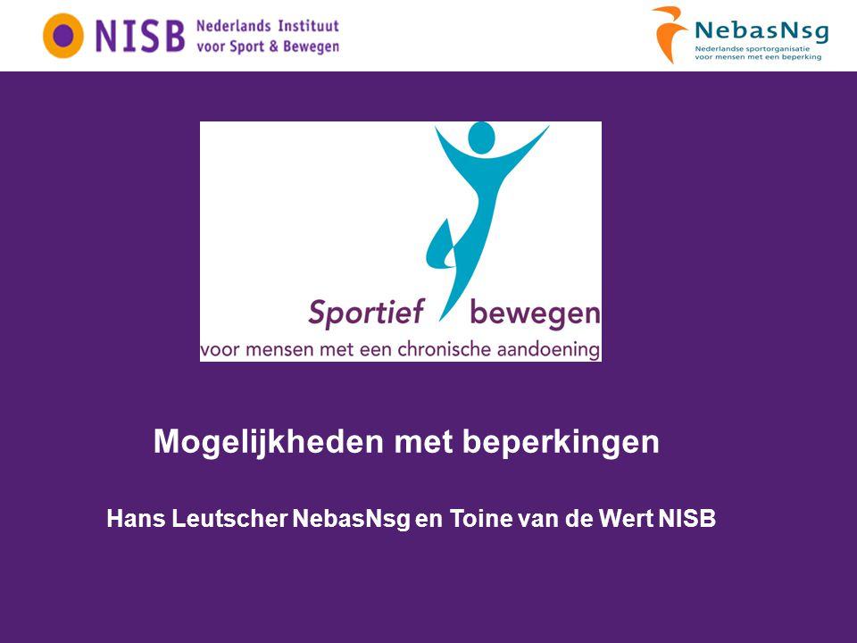 60% van de Nederlanders is normactief 8% is inactief Mensen met een chronische aandoening en de NNGB Bron: Quickscan TNO PG www.sportiefbewegen.nl