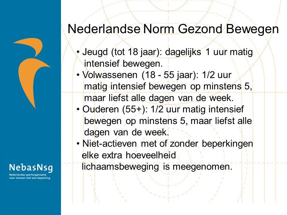 Nederlandse Norm Gezond Bewegen Jeugd (tot 18 jaar): dagelijks 1 uur matig intensief bewegen. Volwassenen (18 - 55 jaar): 1/2 uur matig intensief bewe
