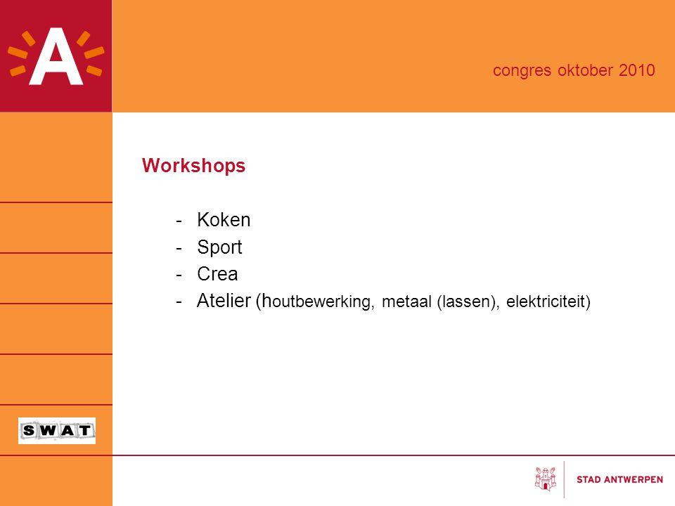 Workshops -Koken -Sport -Crea -Atelier (h outbewerking, metaal (lassen), elektriciteit) congres oktober 2010