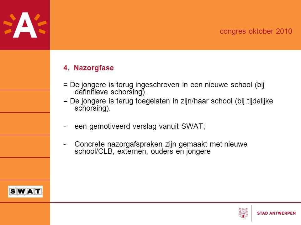 4. Nazorgfase = De jongere is terug ingeschreven in een nieuwe school (bij definitieve schorsing). = De jongere is terug toegelaten in zijn/haar schoo