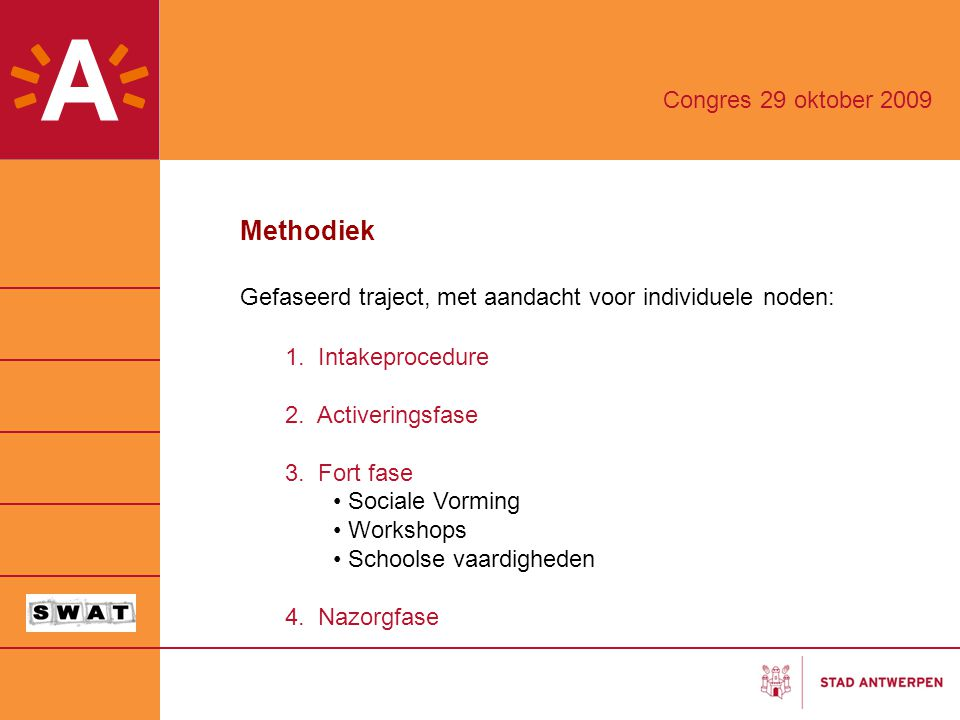 Methodiek Gefaseerd traject, met aandacht voor individuele noden: 1. Intakeprocedure 2. Activeringsfase 3. Fort fase Sociale Vorming Workshops Schools