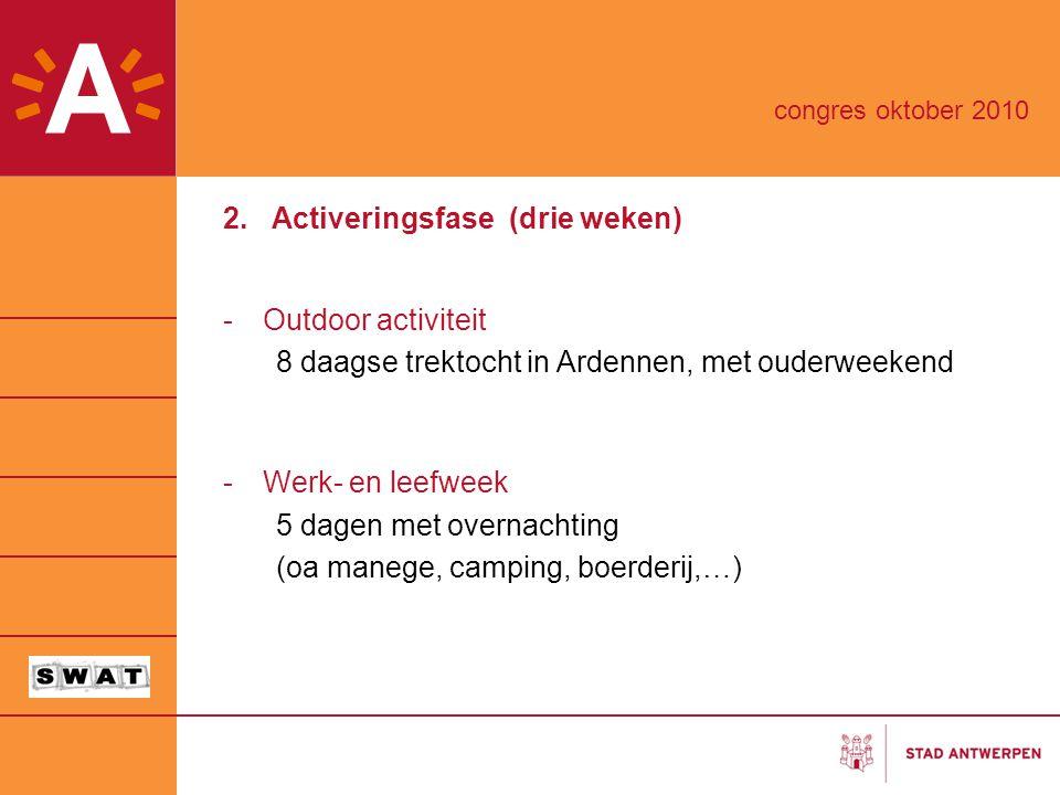 2. Activeringsfase (drie weken) -Outdoor activiteit 8 daagse trektocht in Ardennen, met ouderweekend -Werk- en leefweek 5 dagen met overnachting (oa m
