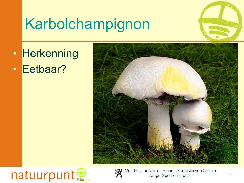 Met de steun van de Vlaamse minister van Cultuur, Jeugd, Sport en Brussel 19 Karbolchampignon Herkenning Eetbaar?