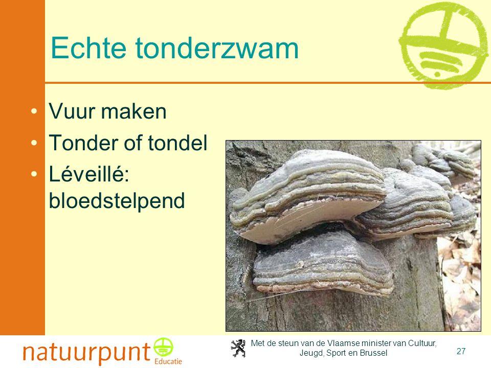 Met de steun van de Vlaamse minister van Cultuur, Jeugd, Sport en Brussel 27 Echte tonderzwam Vuur maken Tonder of tondel Léveillé: bloedstelpend