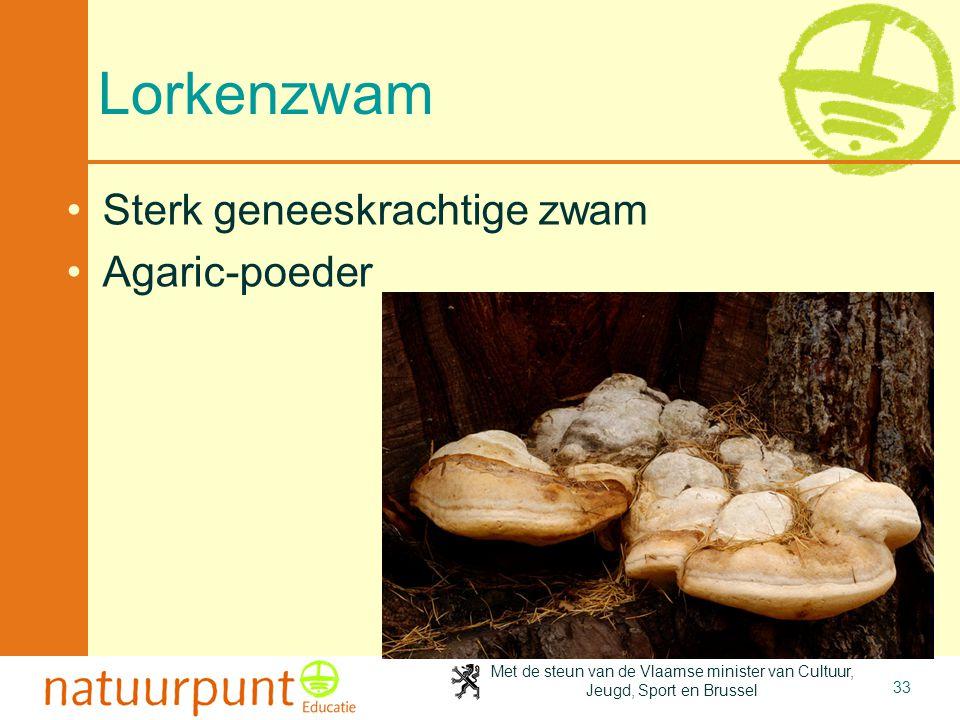 Met de steun van de Vlaamse minister van Cultuur, Jeugd, Sport en Brussel 33 Lorkenzwam Sterk geneeskrachtige zwam Agaric-poeder