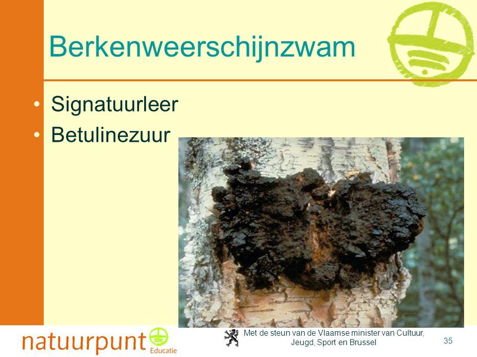 Met de steun van de Vlaamse minister van Cultuur, Jeugd, Sport en Brussel 35 Berkenweerschijnzwam Signatuurleer Betulinezuur