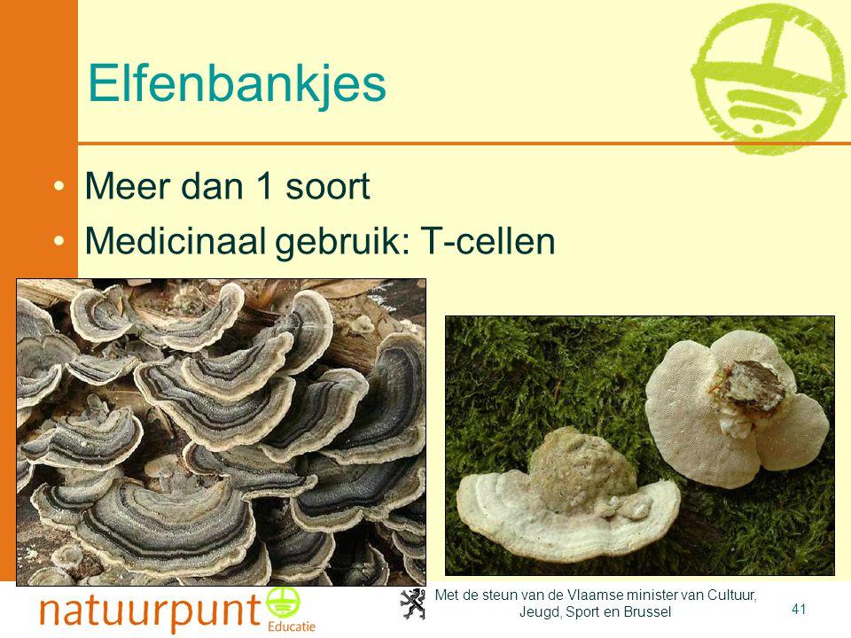 Met de steun van de Vlaamse minister van Cultuur, Jeugd, Sport en Brussel 41 Elfenbankjes Meer dan 1 soort Medicinaal gebruik: T-cellen