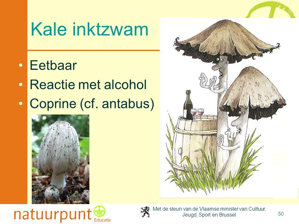 Met de steun van de Vlaamse minister van Cultuur, Jeugd, Sport en Brussel 50 Kale inktzwam Eetbaar Reactie met alcohol Coprine (cf.
