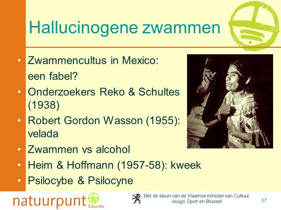 Met de steun van de Vlaamse minister van Cultuur, Jeugd, Sport en Brussel 57 Hallucinogene zwammen Zwammencultus in Mexico: een fabel? Onderzoekers Re