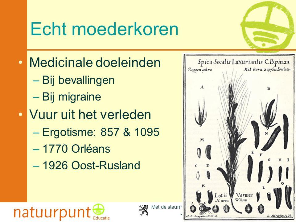 Met de steun van de Vlaamse minister van Cultuur, Jeugd, Sport en Brussel 65 Echt moederkoren Medicinale doeleinden –Bij bevallingen –Bij migraine Vuu