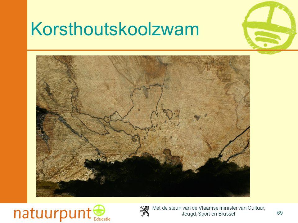 Met de steun van de Vlaamse minister van Cultuur, Jeugd, Sport en Brussel 69 Korsthoutskoolzwam