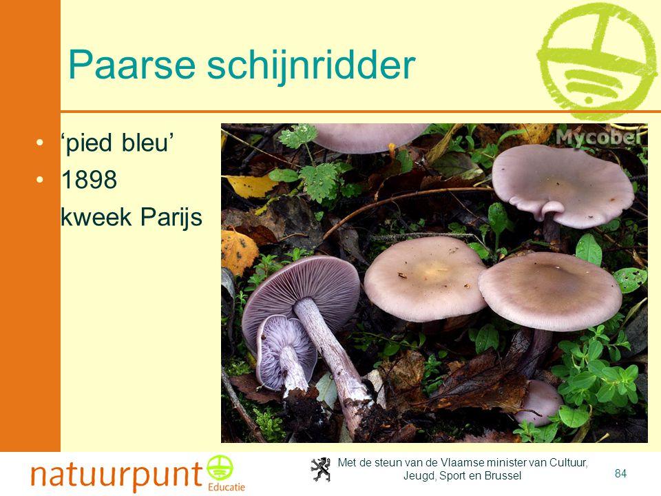 Met de steun van de Vlaamse minister van Cultuur, Jeugd, Sport en Brussel 84 Paarse schijnridder 'pied bleu' 1898 kweek Parijs