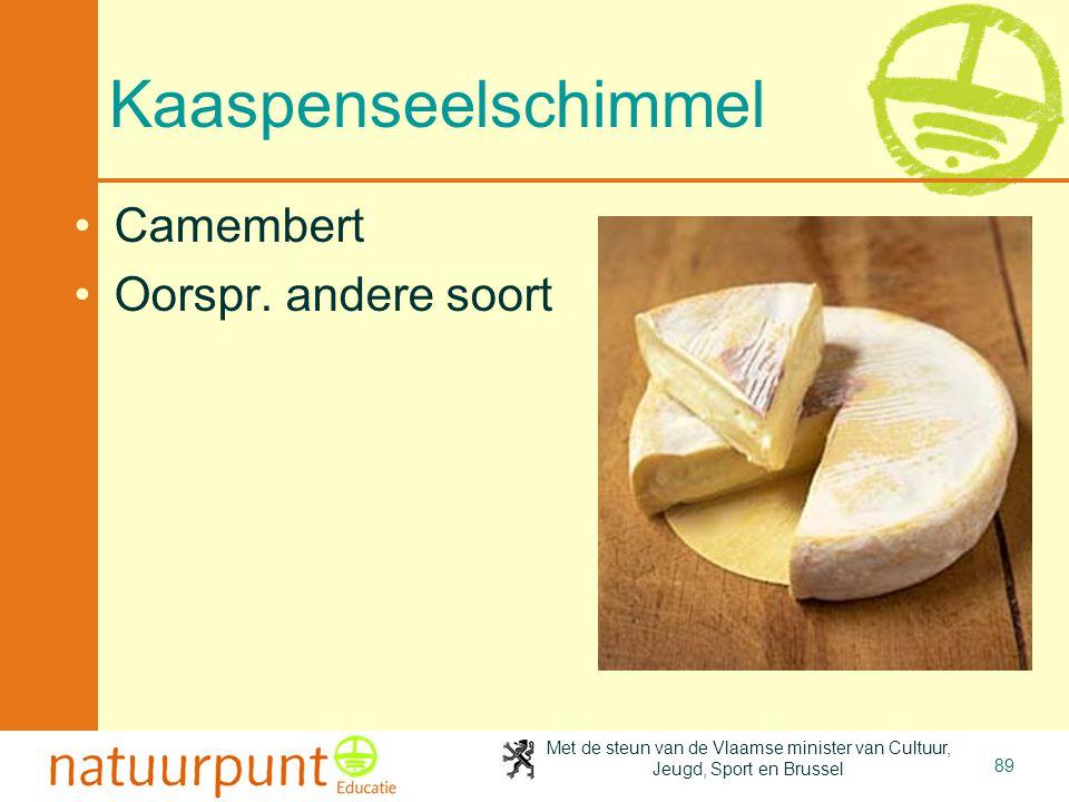 Met de steun van de Vlaamse minister van Cultuur, Jeugd, Sport en Brussel 89 Kaaspenseelschimmel Camembert Oorspr. andere soort