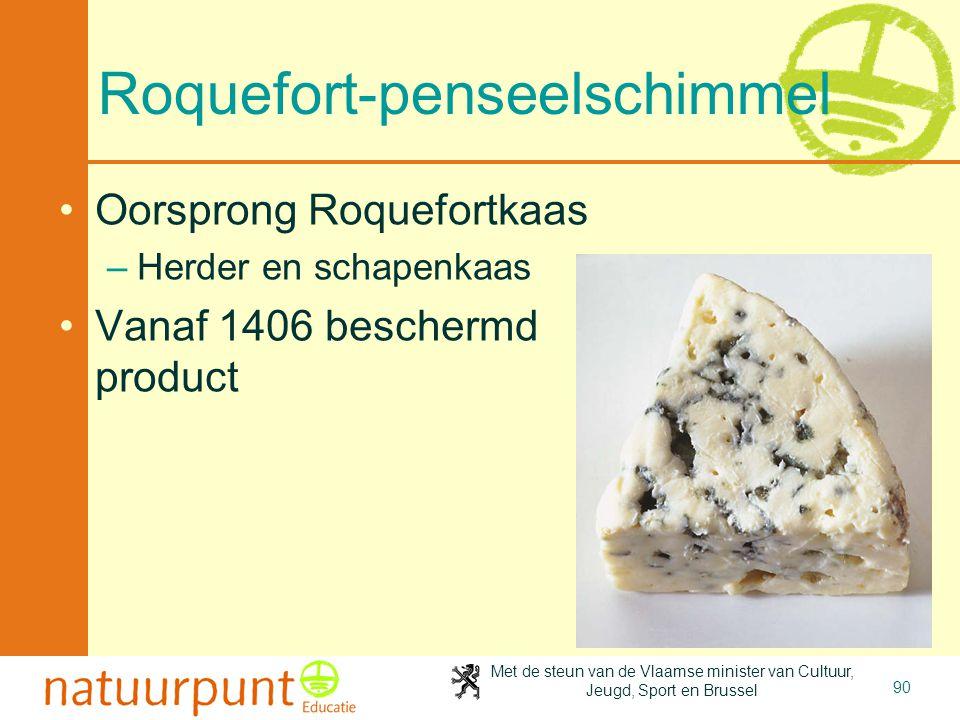 Met de steun van de Vlaamse minister van Cultuur, Jeugd, Sport en Brussel 90 Roquefort-penseelschimmel Oorsprong Roquefortkaas –Herder en schapenkaas Vanaf 1406 beschermd product
