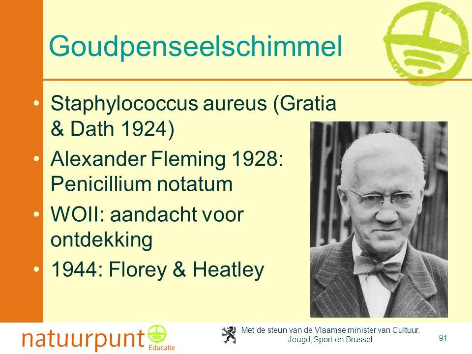 Met de steun van de Vlaamse minister van Cultuur, Jeugd, Sport en Brussel 91 Goudpenseelschimmel Staphylococcus aureus (Gratia & Dath 1924) Alexander Fleming 1928: Penicillium notatum WOII: aandacht voor ontdekking 1944: Florey & Heatley