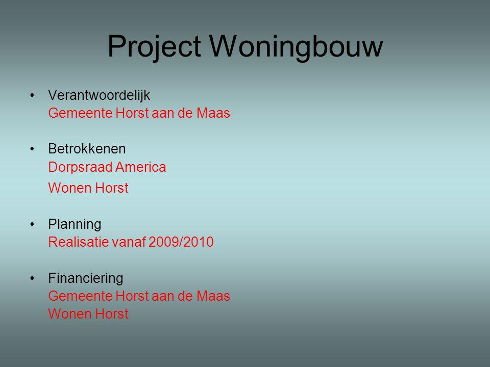 Project Woningbouw Verantwoordelijk Gemeente Horst aan de Maas Betrokkenen Dorpsraad America Wonen Horst Planning Realisatie vanaf 2009/2010 Financiering Gemeente Horst aan de Maas Wonen Horst