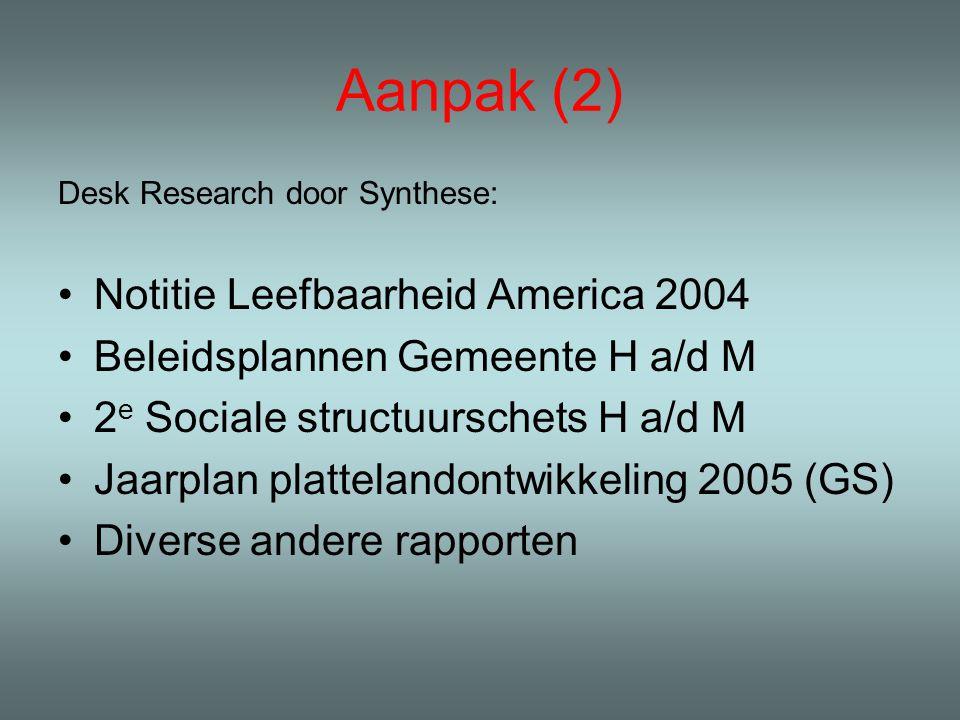 Aanpak (2) Desk Research door Synthese: Notitie Leefbaarheid America 2004 Beleidsplannen Gemeente H a/d M 2 e Sociale structuurschets H a/d M Jaarplan plattelandontwikkeling 2005 (GS) Diverse andere rapporten