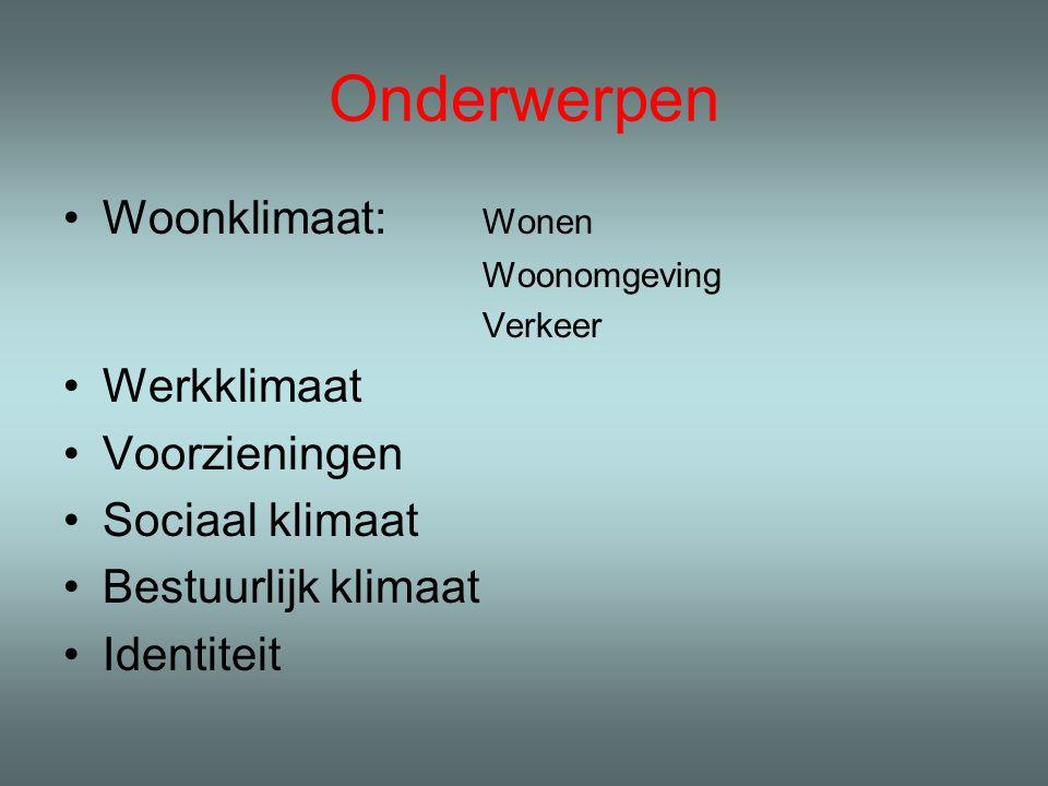 Onderwerpen Woonklimaat: Wonen Woonomgeving Verkeer Werkklimaat Voorzieningen Sociaal klimaat Bestuurlijk klimaat Identiteit