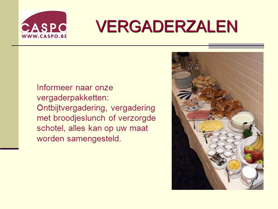 VERGADERZALEN Informeer naar onze vergaderpakketten: Ontbijtvergadering, vergadering met broodjeslunch of verzorgde schotel, alles kan op uw maat worden samengesteld.