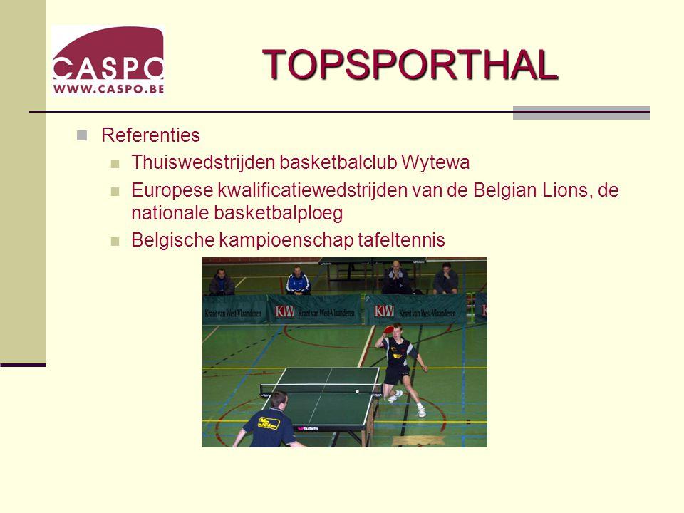 TOPSPORTHAL Referenties Thuiswedstrijden basketbalclub Wytewa Europese kwalificatiewedstrijden van de Belgian Lions, de nationale basketbalploeg Belgische kampioenschap tafeltennis