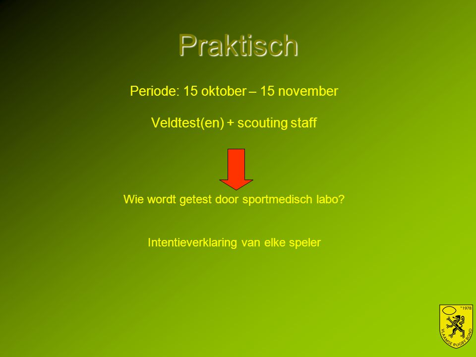 Praktisch Periode: 15 oktober – 15 november Veldtest(en) + scouting staff Wie wordt getest door sportmedisch labo.
