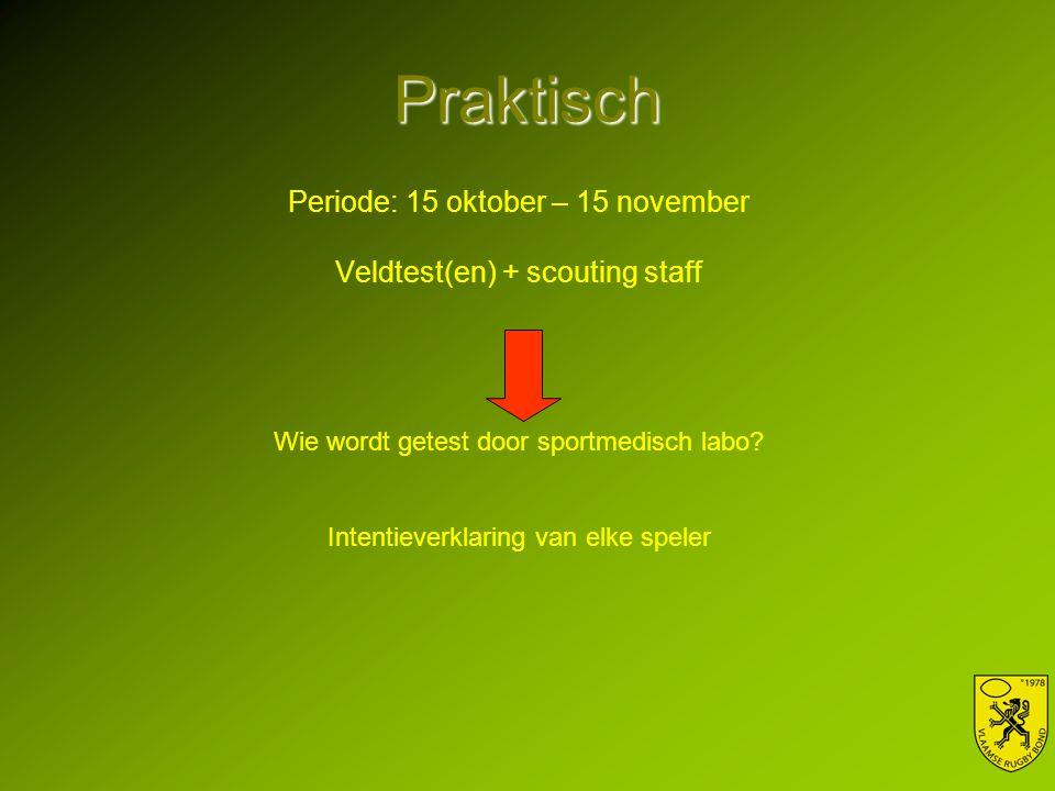 Praktisch Periode: 15 oktober – 15 november Veldtest(en) + scouting staff Wie wordt getest door sportmedisch labo? Intentieverklaring van elke speler