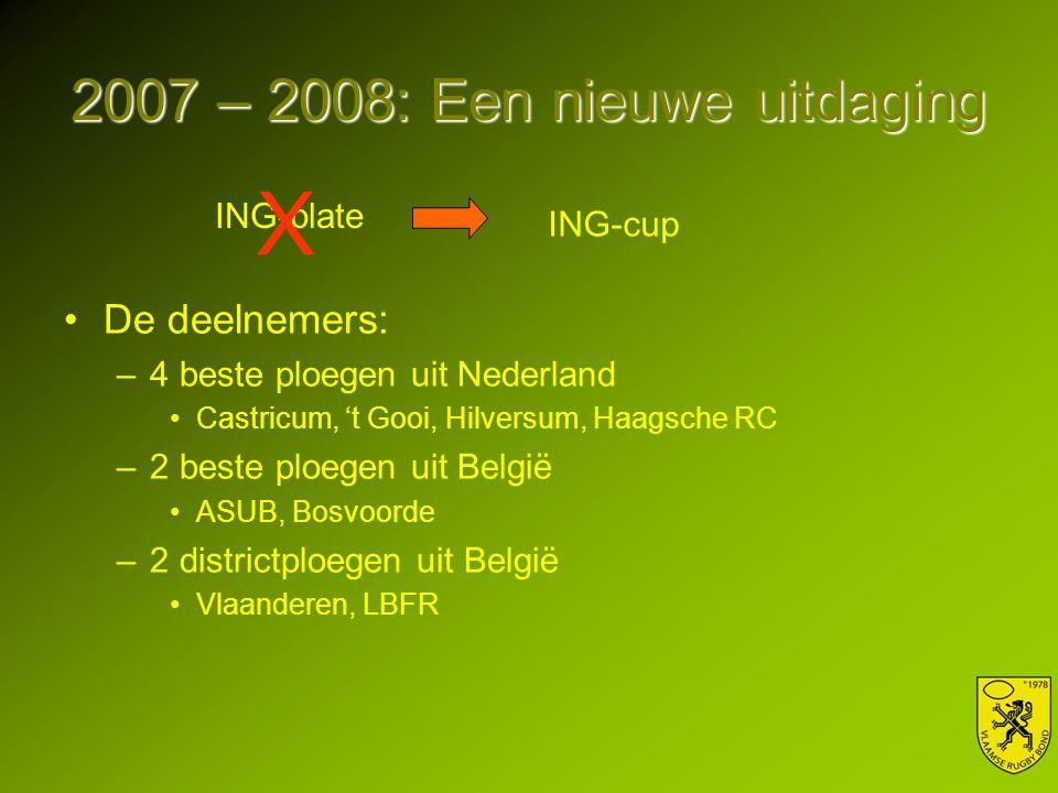 2007 – 2008: Een nieuwe uitdaging De deelnemers: –4 beste ploegen uit Nederland Castricum, 't Gooi, Hilversum, Haagsche RC –2 beste ploegen uit België ASUB, Bosvoorde –2 districtploegen uit België Vlaanderen, LBFR ING-plate ING-cup X