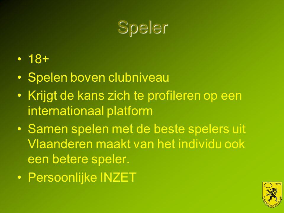 Speler 18+ Spelen boven clubniveau Krijgt de kans zich te profileren op een internationaal platform Samen spelen met de beste spelers uit Vlaanderen maakt van het individu ook een betere speler.