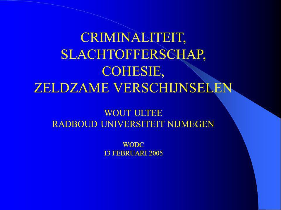 CRIMINALITEIT, SLACHTOFFERSCHAP, COHESIE, ZELDZAME VERSCHIJNSELEN WOUT ULTEE RADBOUD UNIVERSITEIT NIJMEGEN WODC 13 FEBRUARI 2005