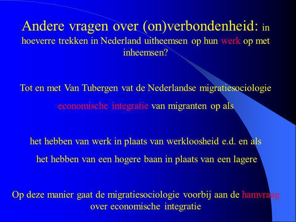 Andere vragen over (on)verbondenheid: in hoeverre trekken in Nederland uitheemsen op hun werk op met inheemsen? Tot en met Van Tubergen vat de Nederla