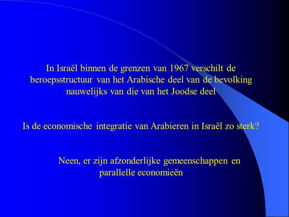 In Israël binnen de grenzen van 1967 verschilt de beroepsstructuur van het Arabische deel van de bevolking nauwelijks van die van het Joodse deel Is de economische integratie van Arabieren in Israël zo sterk.