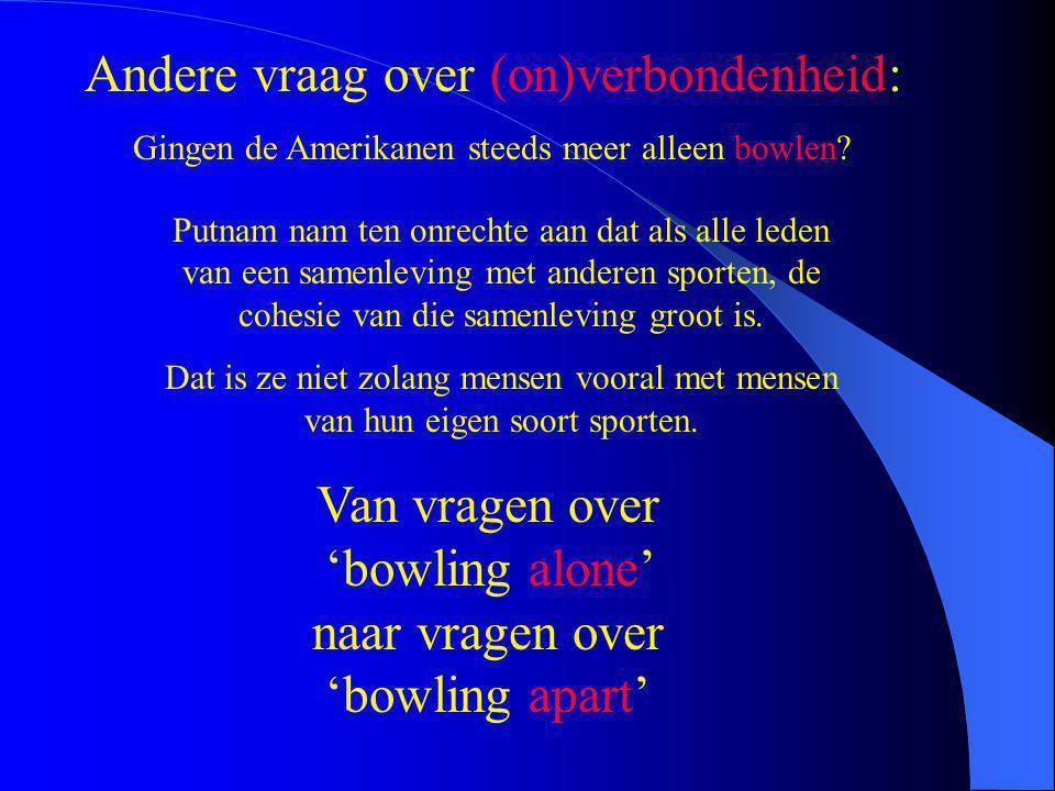 Andere vraag over (on)verbondenheid: Gingen de Amerikanen steeds meer alleen bowlen? Putnam nam ten onrechte aan dat als alle leden van een samenlevin
