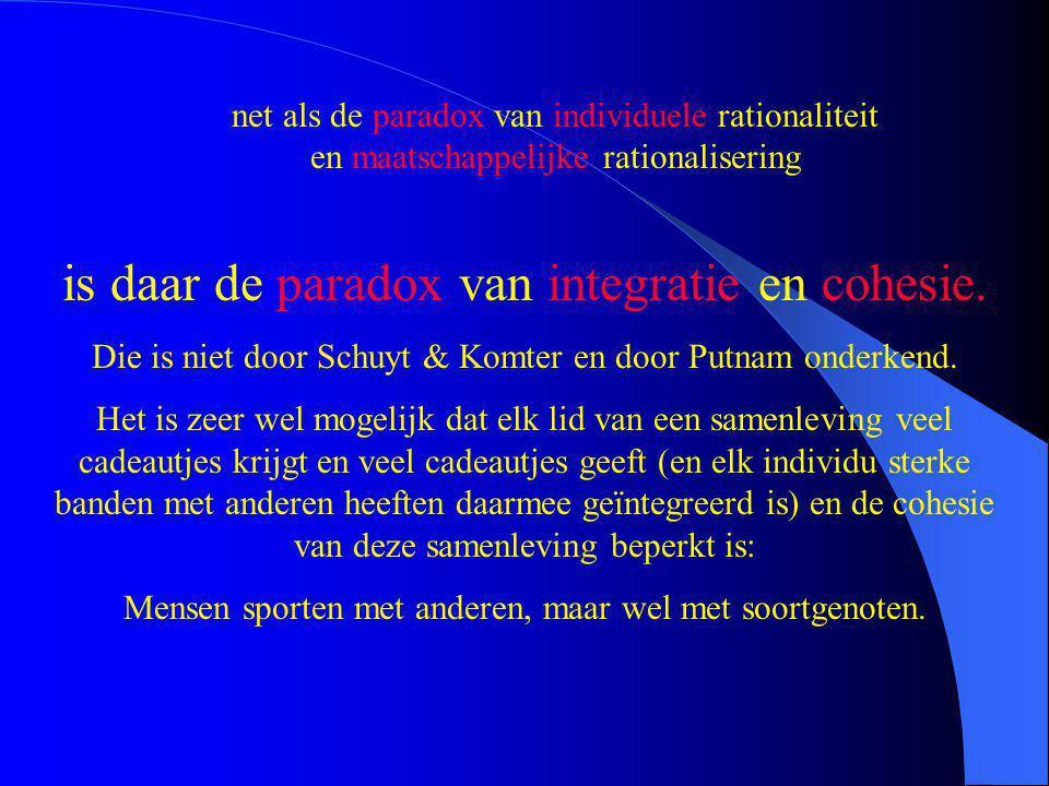 is daar de paradox van integratie en cohesie. Die is niet door Schuyt & Komter en door Putnam onderkend. Het is zeer wel mogelijk dat elk lid van een
