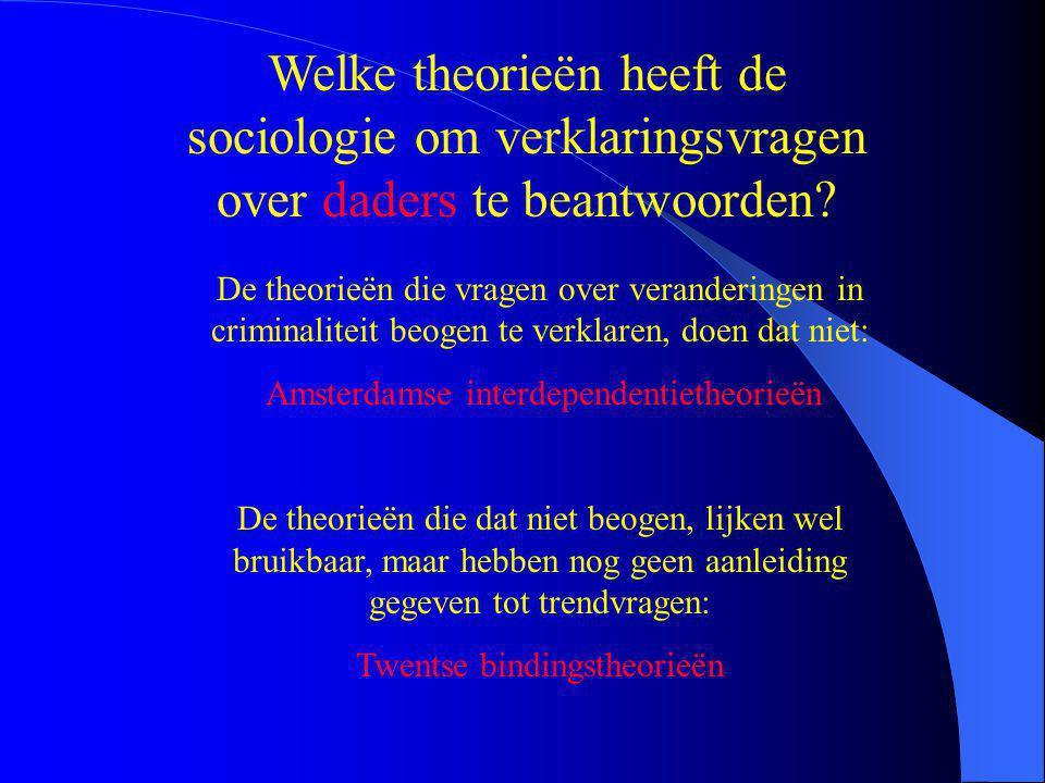 Welke theorieën heeft de sociologie om verklaringsvragen over daders te beantwoorden.