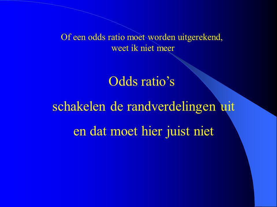 Of een odds ratio moet worden uitgerekend, weet ik niet meer Odds ratio's schakelen de randverdelingen uit en dat moet hier juist niet