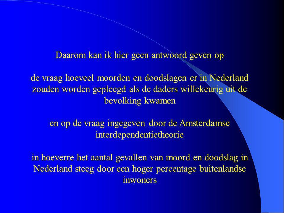 Daarom kan ik hier geen antwoord geven op de vraag hoeveel moorden en doodslagen er in Nederland zouden worden gepleegd als de daders willekeurig uit de bevolking kwamen en op de vraag ingegeven door de Amsterdamse interdependentietheorie in hoeverre het aantal gevallen van moord en doodslag in Nederland steeg door een hoger percentage buitenlandse inwoners
