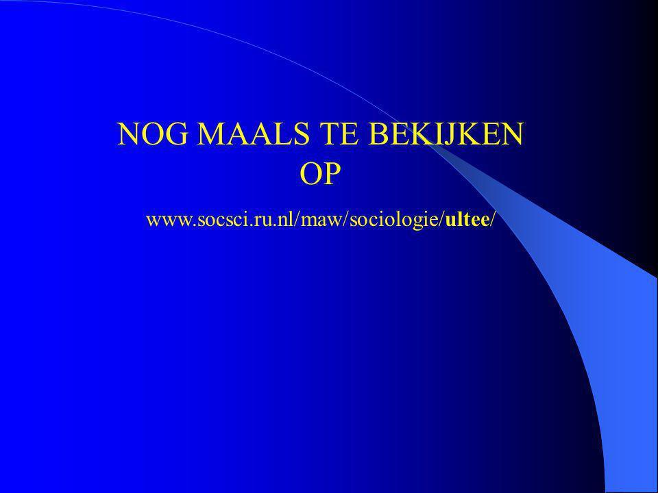 NOG MAALS TE BEKIJKEN OP www.socsci.ru.nl/maw/sociologie/ultee/