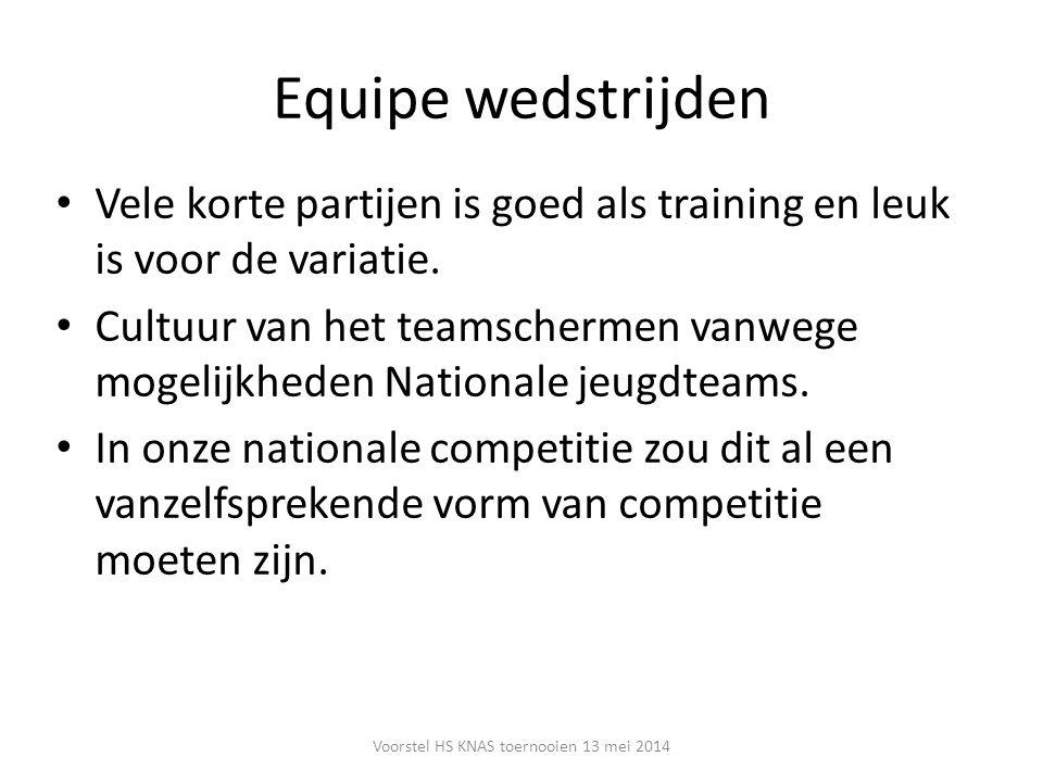 Equipe wedstrijden Vele korte partijen is goed als training en leuk is voor de variatie. Cultuur van het teamschermen vanwege mogelijkheden Nationale