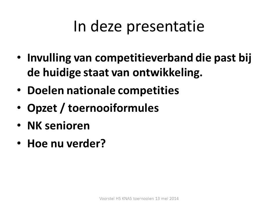 In deze presentatie Invulling van competitieverband die past bij de huidige staat van ontwikkeling. Doelen nationale competities Opzet / toernooiformu