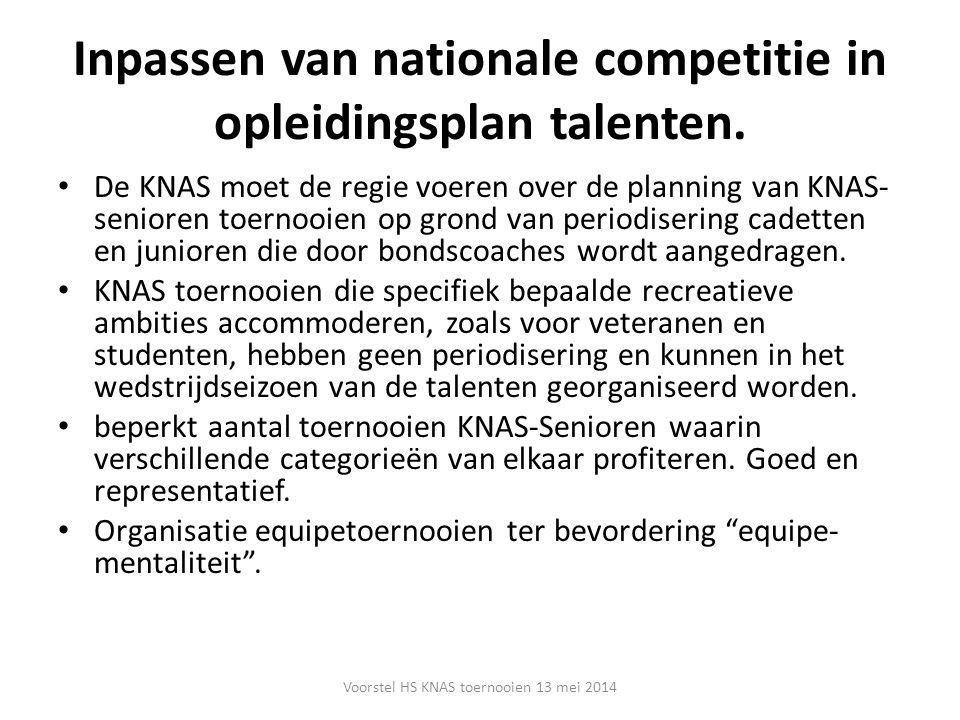 Inpassen van nationale competitie in opleidingsplan talenten. De KNAS moet de regie voeren over de planning van KNAS- senioren toernooien op grond van