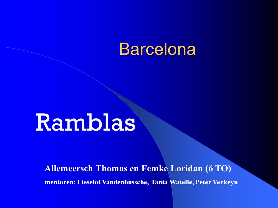 Allemeersch Thomas, Femke Loridan2 Inleiding Barcelona is gelegen aan de Costa Brava, in het noordoosten van Spanje, aan de Middellandse zee.