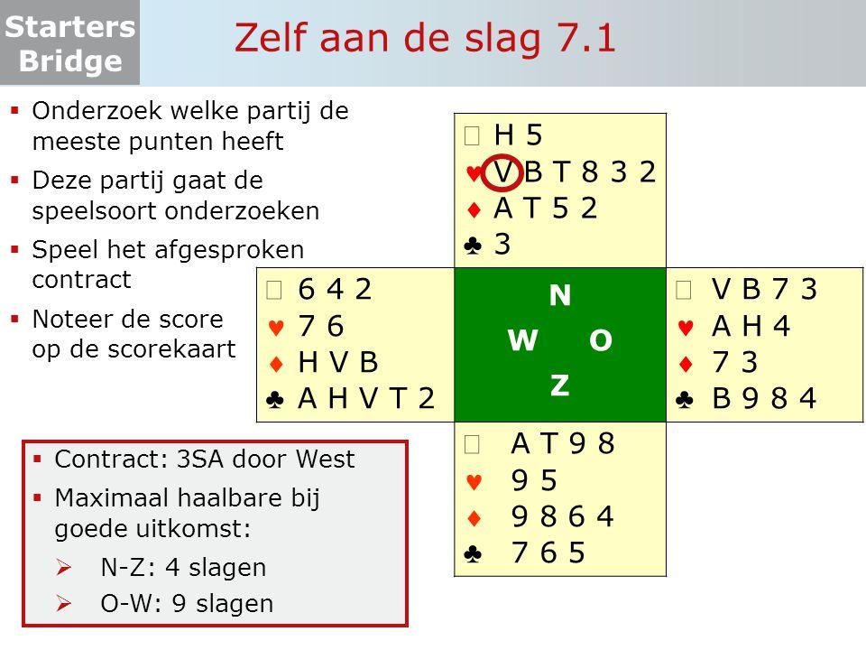 Starters Bridge Zelf aan de slag 7.1  Onderzoek welke partij de meeste punten heeft  Deze partij gaat de speelsoort onderzoeken  Speel het afgespro