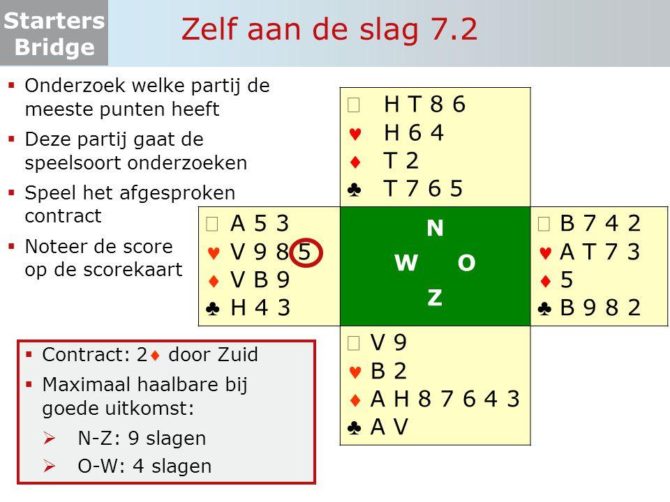 Starters Bridge Zelf aan de slag 7.2  Onderzoek welke partij de meeste punten heeft  Deze partij gaat de speelsoort onderzoeken  Speel het afgespro