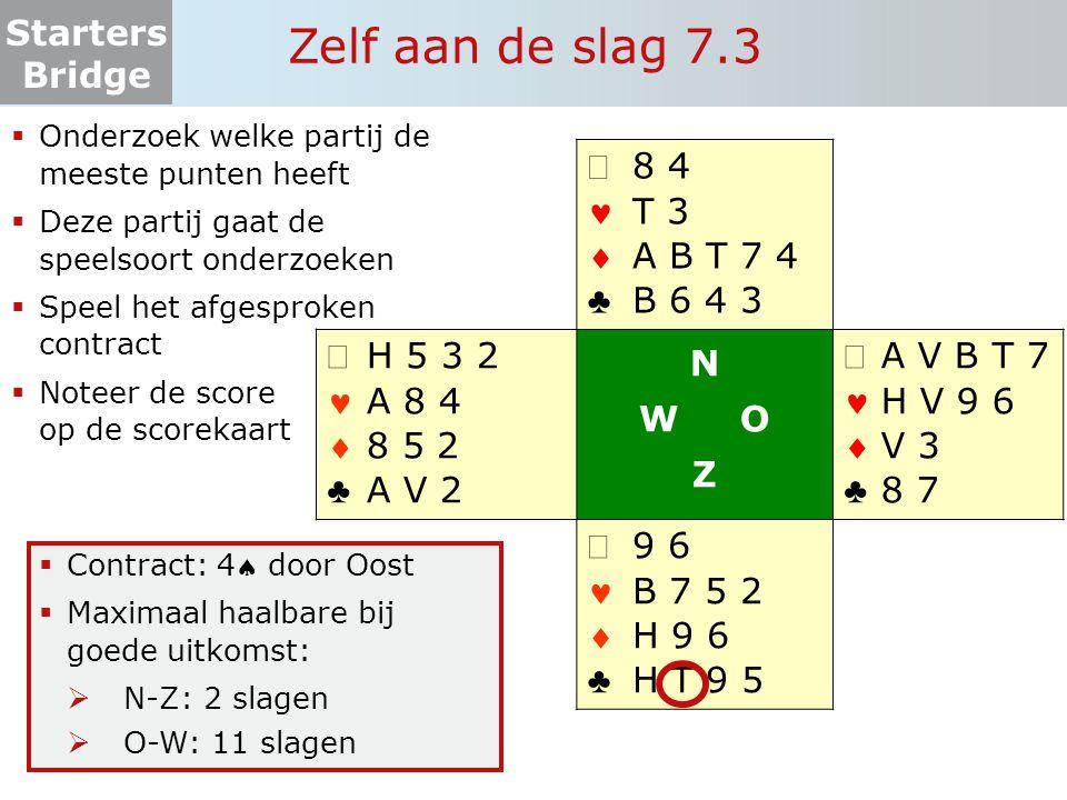 Starters Bridge Zelf aan de slag 7.3  Onderzoek welke partij de meeste punten heeft  Deze partij gaat de speelsoort onderzoeken  Speel het afgespro