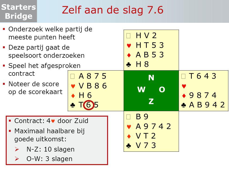 Starters Bridge Zelf aan de slag 7.6  Onderzoek welke partij de meeste punten heeft  Deze partij gaat de speelsoort onderzoeken  Speel het afgespro