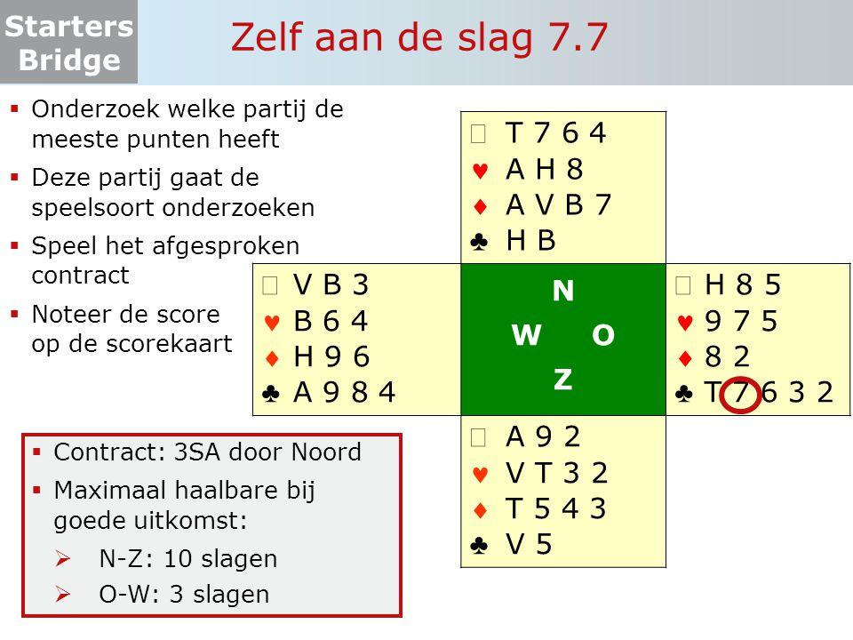 Starters Bridge Zelf aan de slag 7.7  Onderzoek welke partij de meeste punten heeft  Deze partij gaat de speelsoort onderzoeken  Speel het afgespro