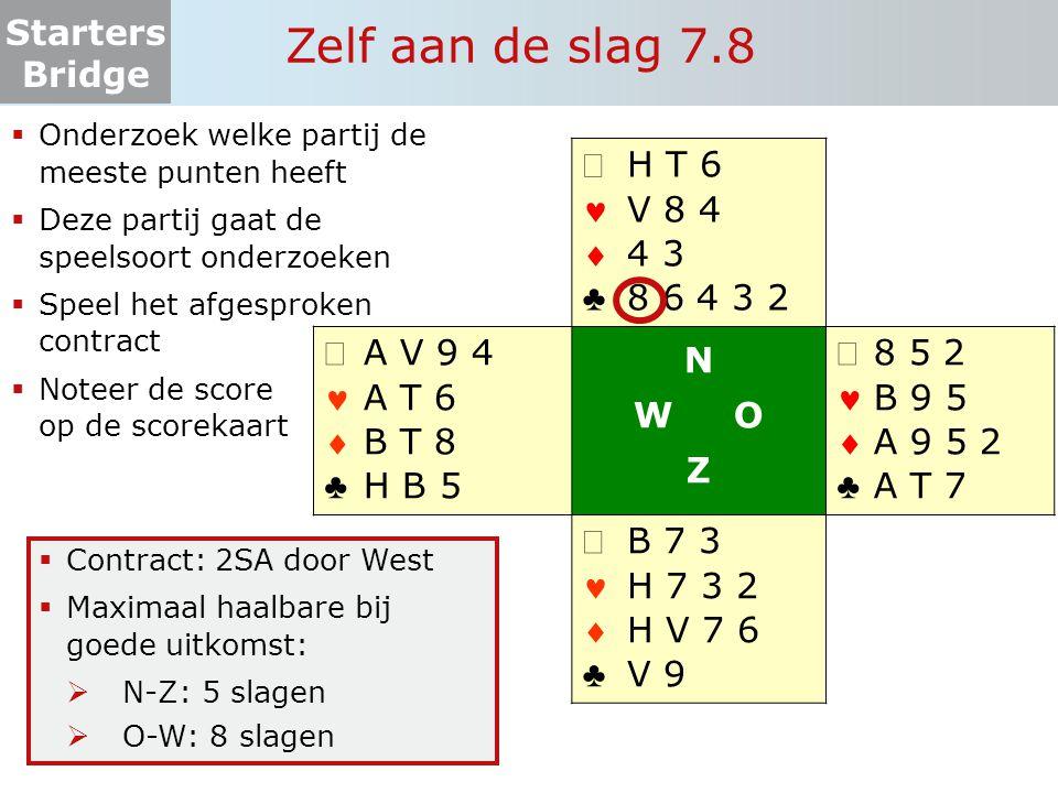 Starters Bridge Zelf aan de slag 7.8  Onderzoek welke partij de meeste punten heeft  Deze partij gaat de speelsoort onderzoeken  Speel het afgespro