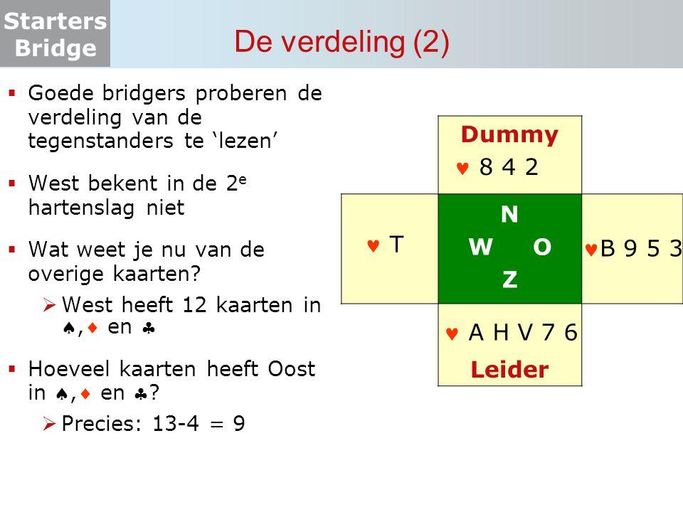Starters Bridge De verdeling (2)  Goede bridgers proberen de verdeling van de tegenstanders te 'lezen'  West bekent in de 2 e hartenslag niet  Wat